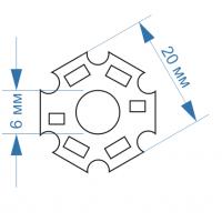 Алюминиевая подложка для светодиода 1-3 Вт