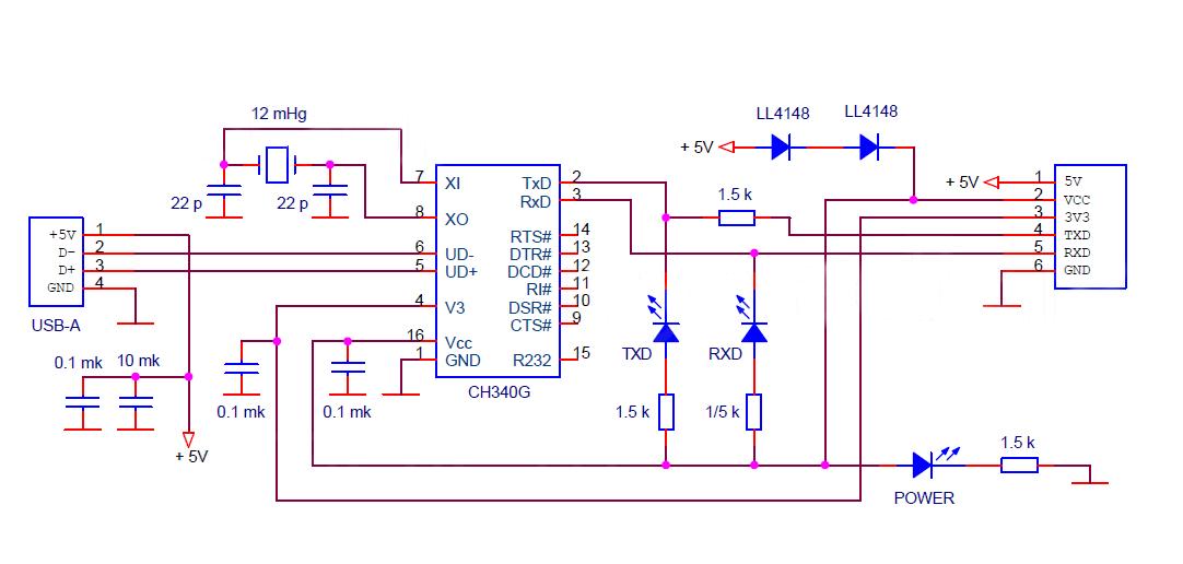 Принципиальная схема модуля CH340.